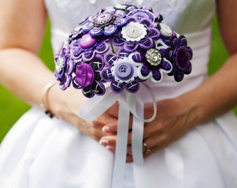 Custom Color Bridal Button and Felt Brooch Bouquet