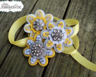 Custom Felt and Button Flower Wrist Corsage.