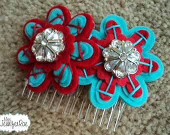 Custom Color Felt and Button Hair Comb