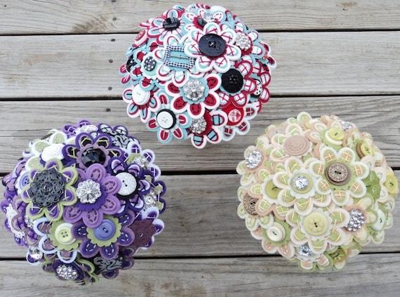 Button Bridal Bouquet Etsy : Custom color bridal felt button bouquet by missjenniferrae