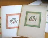 10 Vintage Style Shabby Chic Pink and Aqua Lovebird invitations or notecards