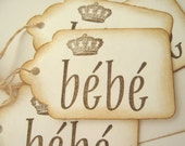 36 French Bebe Baby Shower Prince Princess Gift Tags