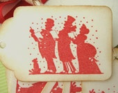 Christmas Gift Tags Victorian Carolers Red