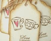 Wedding Wish Tags, Love is Brewing, Espresso, Coffee Mugs
