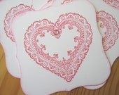 Shabby Pink Lace heart Valentine Gift Tags, Gift Embellishment