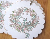 Bird and Berries Spring Wreath Gift Tags