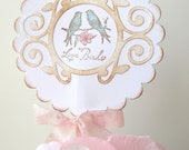 Lovebirds pink and aqua Wedding Cake Topper, Wedding Shower, Anniversary