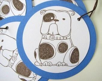Blue and brown bulldog tags