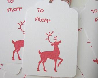 Red Reindeer Christmas Gift Tags