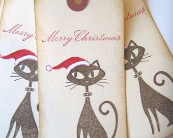 Santa Kitty Christmas Gift Tags
