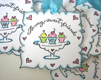 Aqua and Pink cupcake tags hand glittered set of 6