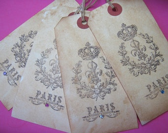 Gift Tags, Shabby Paris French Market Fleur De Lis Tags