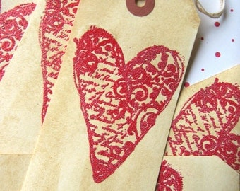 Red Glitter French Heart Valentine tags