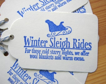 Blue Christmas Gift Tags, Blue Sleigh Gift Tags