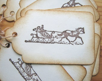 Sleigh Holiday Gift Tags Christmas Old Fashioned