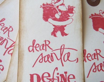 Santa Christmas Gift Tags Red