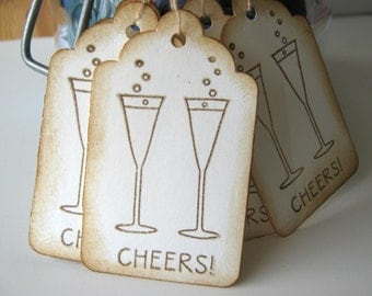 Champagne Glass Cheers Wedding Wish Tags, Cheers Favor Tags, New Years Tags, Cocktail tags