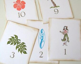 Tropical Hawaii Wedding Table Numbers, set of 10