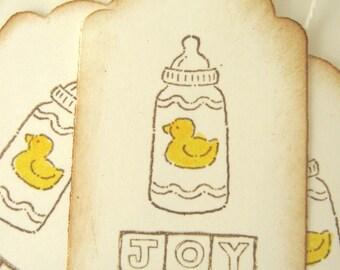 Rubber Duckie Baby Bottle Joy Baby Shower Tags