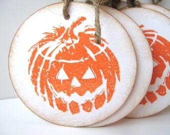 Halloween Pumpkin Jack O Lantern Gift Tag Orange