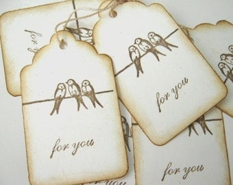 Three Birds Sitting On A Wire Gift Tags