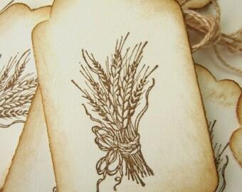 10 Fall Autumn Harvest Wheat Tags