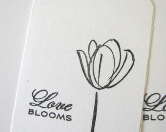Black and White Flower Wedding Wish Tags Rose, Daisy, Hydrangea, Tulip