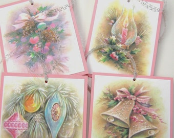 Pink and Aqua Christmas Gift Tags