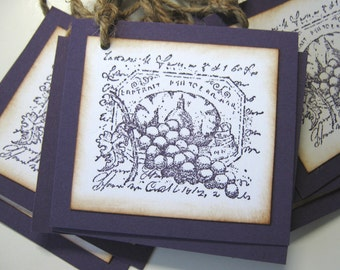 Wine Lable Grapes Winery Wedding Gift Tags