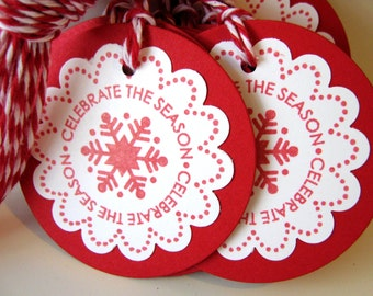 Christmas Gift Tag Red Snowflake, Round