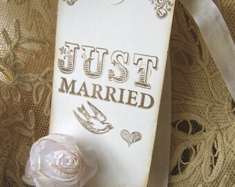 Wedding Wish Tag, Rose Vintage Just Married Tag
