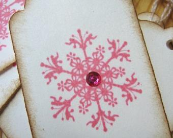 Pink Snowflake Christmas Gift Tags