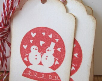 Snowman Valentine Gift Tags, Snowglobe Gift Tags