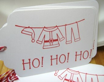 Christmas Gift Tags, Santa Suit, Ho Ho Ho Gift Tags