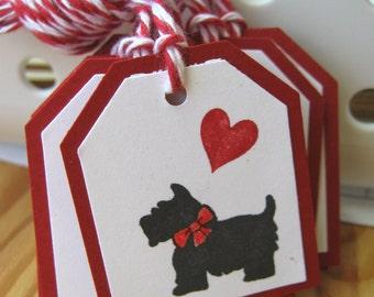Black Scottie Dog Valentine Gift Tags