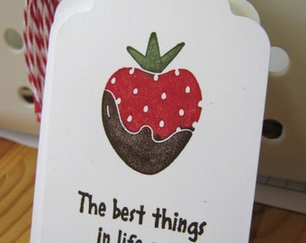 Chocolate Covered Strawberry Valentine Gift Tags