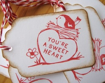 Red bird sweet heart gift tags