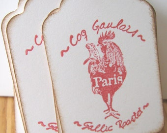 Red Rooster Gift Tags, French Gift Tags, Paris Gift Tags