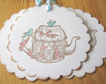 Teapot Tags, teapot gift tags, birds, cottage