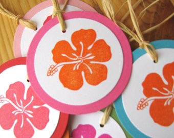 Tropical Hibiscus Hawaii Island Wedding Gift Tags
