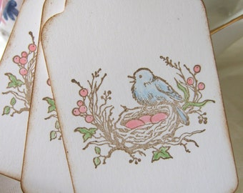 Spring Pink and Blue Bird Nest and Egg Gift Tags