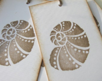 Nautilus, Seashell Gift Tags