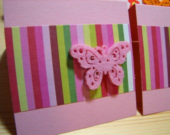 Gift Cards, Tags, Pink, Butterfly