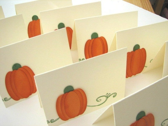 Pumpkin Place cards, orange, fall
