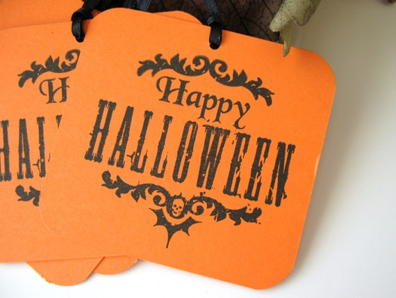 Happy Halloween Orange and Black Gift Tags