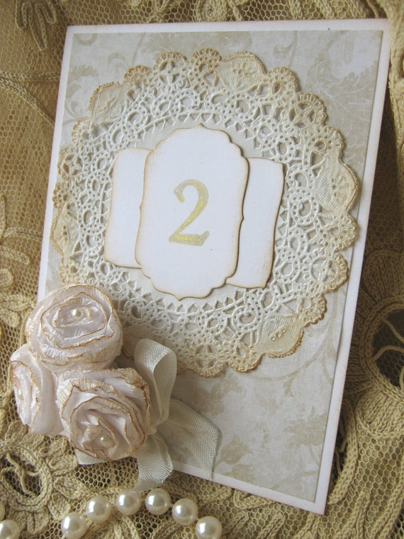 Roses and Lace Wedding Table Numbers