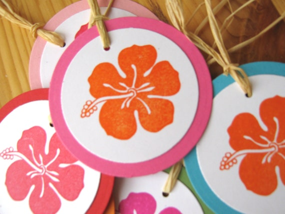 Tropical Hibiscus Hawaii Island Wedding Gift Tags