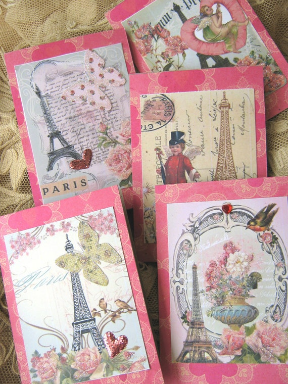 Shabby French Paris Eiffel Tower Notecards