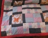 Quilt 58 x 48 in Red Pink Blue Butterfly patchwork