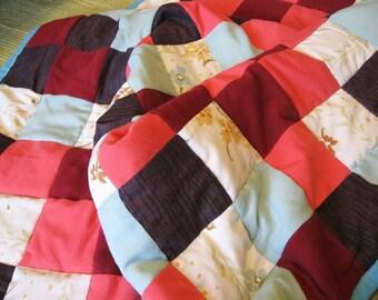 Baby Quilt Size 52 x 39 Red Orange Flower Blue patchwork